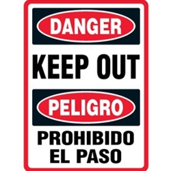 Bilingual Construction Danger Sign