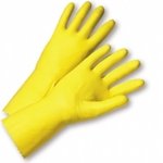 "Economy 16mil 12"" Flocklined Yellow Latex Glove"