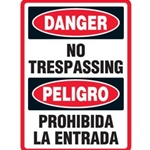Bilingual Danger No Trespassing Sign