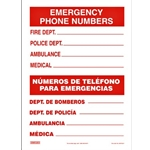 10 x 14 Emergency Numbers Sign