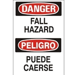 Bilingual Danger: Fall Hazard Sign