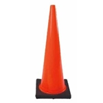 "Vinyl Traffic Cone w/ Black Base 18"" Height Red/Orange"