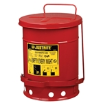 6 Gal Oily Waste Can w/ Foot Operated Cover Red