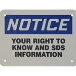 "Right To Know Sign 5"" x 7"""