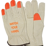 "Driver Glove, Industry Pigskin with orange fingertips, ""Watch Your Hands"" Logo"
