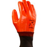 Fluorescent vinyl dipped Glove on a thermal liner