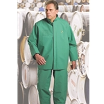 Green Chemtex PVC, Nylon And Polyester Rain Jacket w/Storm Flap Over Front Zipper Closure & Snap Hood
