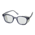 Full Frame Safety Glasses w/Smoke Frame, Clear Lens, and Anti-Scratch/Anti-Fog Coating