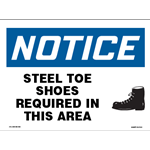 Steel Toe Shoes Required In This Area Sign