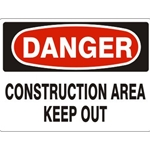 "10"" x 14"" Aluminum Construction Area Keep Out Danger Sign"