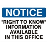 "7"" x 10"" Aluminum Right to Know Sign"