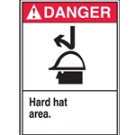 ANSI Danger Safety Sign - Hard Hat Area