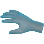 Industrial-grade vinyl disposable gloves lightly powdered S Blue