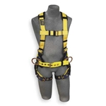 Construction vest style harness w/ tongue-buckle legs