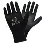 Black Polyurethane on Black Nylon Glove