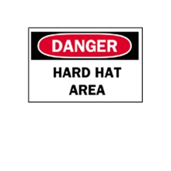 "Danger: Hard Hat Area Sticker 7"" x 10"""