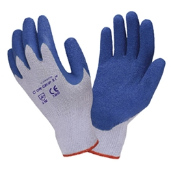 Economy Gray Cotton Glove w/ Blue Crinkle Grip Latex Coating