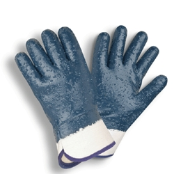 Fully Coated Nitrile Glove w/ Rough Finish and Jersey Liner L
