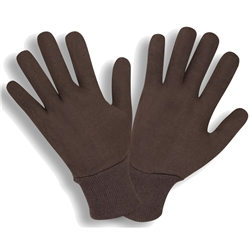 Brown Reversible Knit Wrist Jersey Gloves