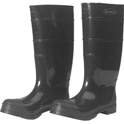 "Durawear Black PVC 16"" Knee Boots, Steel Toe, Over-The-Sock Style"