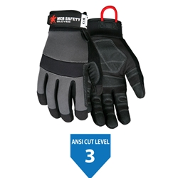 MCR Safety Multi-Task, Synthetic leather palm, Rough PVC coated material reinforced palm, DuPont™ Kevlar®  lined, Gray Spandex back, Adjustable Wrist Closure