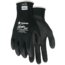 Ninja® Cut Protection, 18 gauge, Black Kevlar® Stretch Armor Technology shell, Black BNF palm and fingertips
